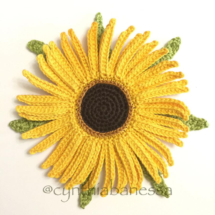 Crochet Sunflower Brooch Pattern