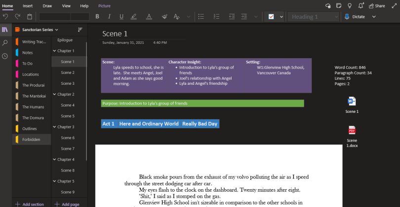 how to organize scenes using onenote to write a book