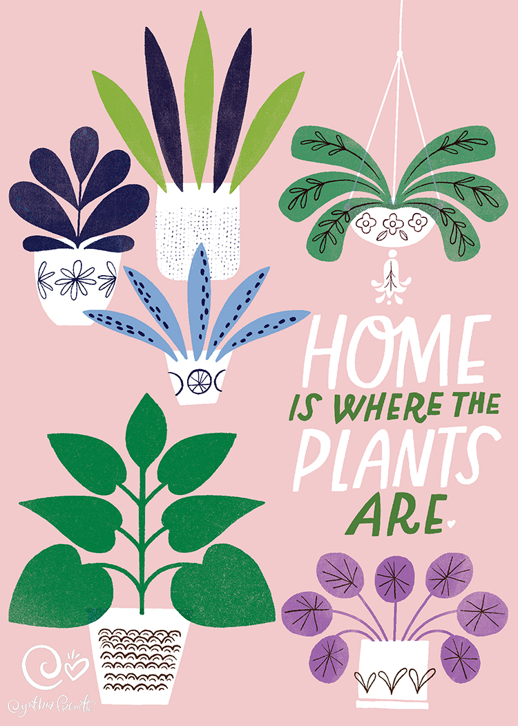plant illustrations with a quote