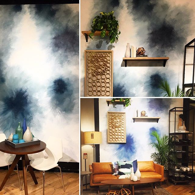 Yes, I painted this wall for West Elm. Stepping into Spring. #Westelm , #cynthiahallofstyle #yesicanpaint