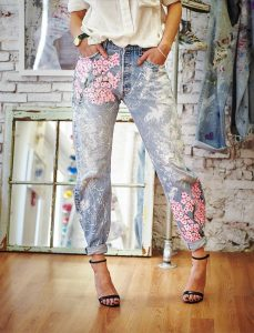Floral Painted Jeans