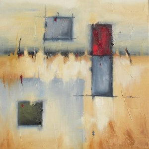 "Aspect 24"" x 24"" Abstract Oil Painting by Cynthia Ligeros"