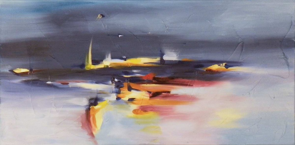 "Breath of Light 12"" x 24"" Abstract Oil Painting by Cynthia Ligeros"