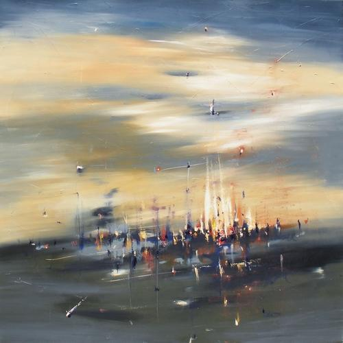 """Tempest 36"""" x 36"""" Abstract Oil Painting by Cynthia Ligeros"""