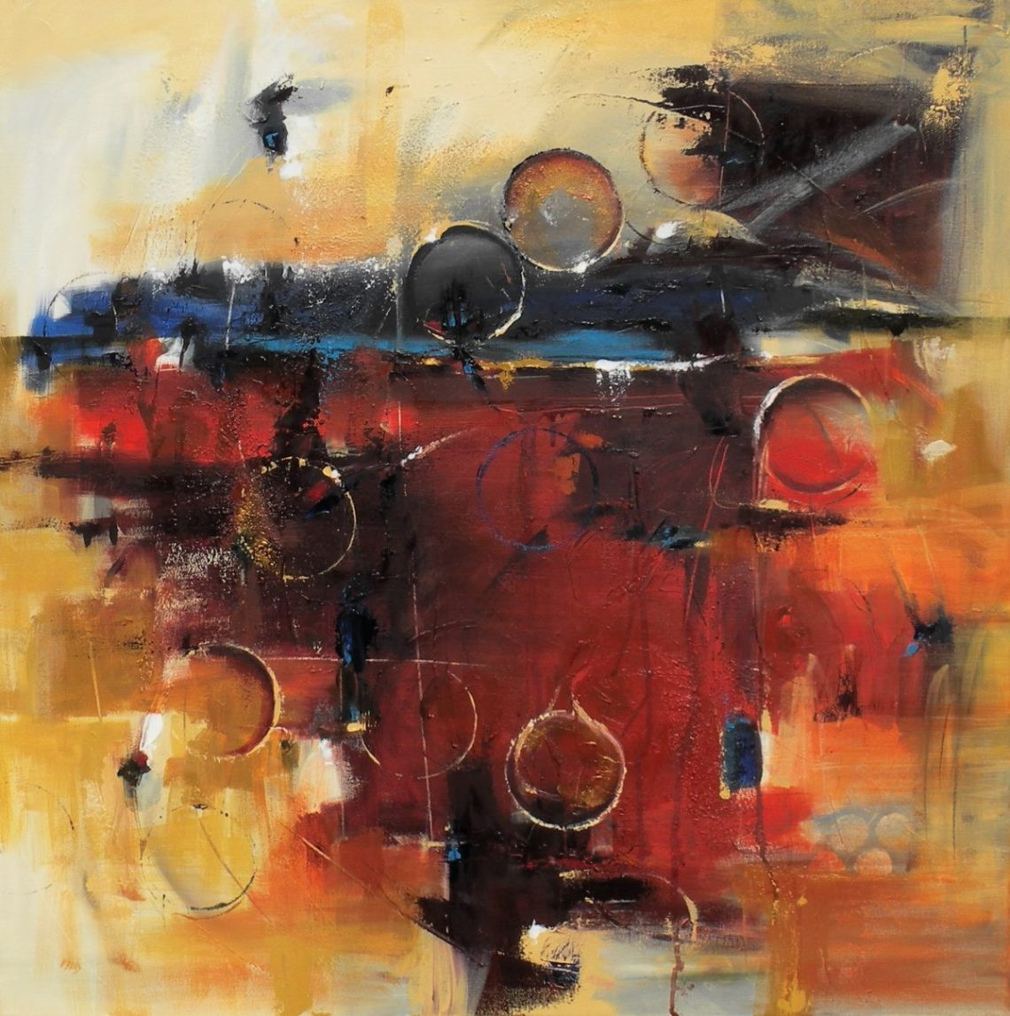 """Radiant Horizon 30"""" x 30"""" Abstract Oil Painting $1800"""