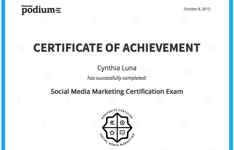 Social Sunday! It's official: I'm Social Media Marketing Certified!