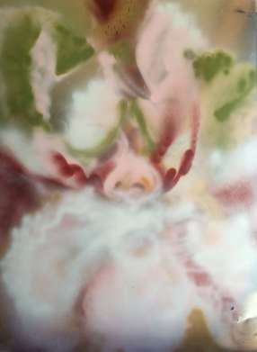 A large orchid/iris hybrid in soft pinks and mossy greens, spray painted by artist Cynthia McLoughlin.