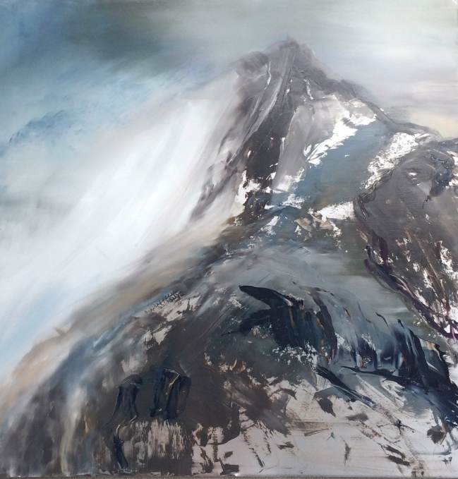 """""""First Snow"""", by Cynthia McLoughlin, 40"""" x 40"""", Oil on steel, $5600"""