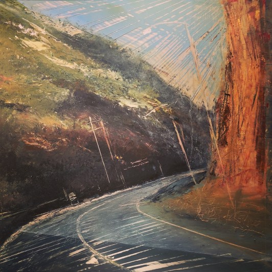 Oil on metal, mountain road curving around through the pass in summer with exposed orange/brown rock face and green mountain scrub.