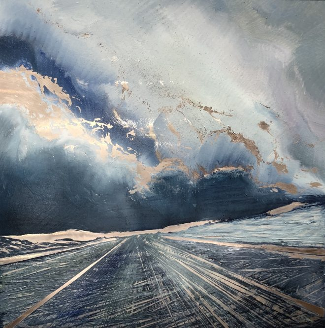 Oil on metal by Cynthia McLoughlin, deep blue sky with white clouds over a tilted blue/grey road to infinity.
