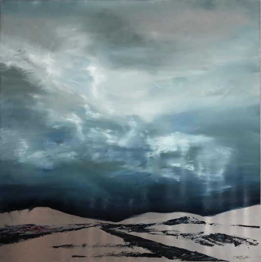 """Silver Road, oil on aluminum, 39"""" x 39"""", $5300"""