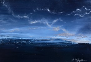 """Day is Done, oil on brushed aluminum, 15"""" x 19"""", $975"""