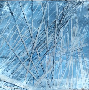 Abstract oil painting on metal in silver and blues.