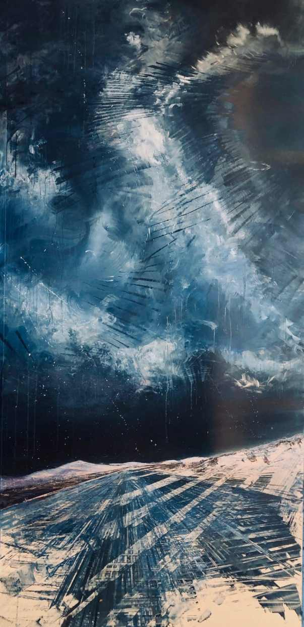 """Celestial Rhapsody, oil on a brushed aluminum panel, 99"""" x 51"""", $16,900"""