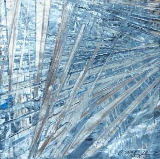 "Aramis, oil paint on a brushed aluminum panel, 15"" x 15"", $800"