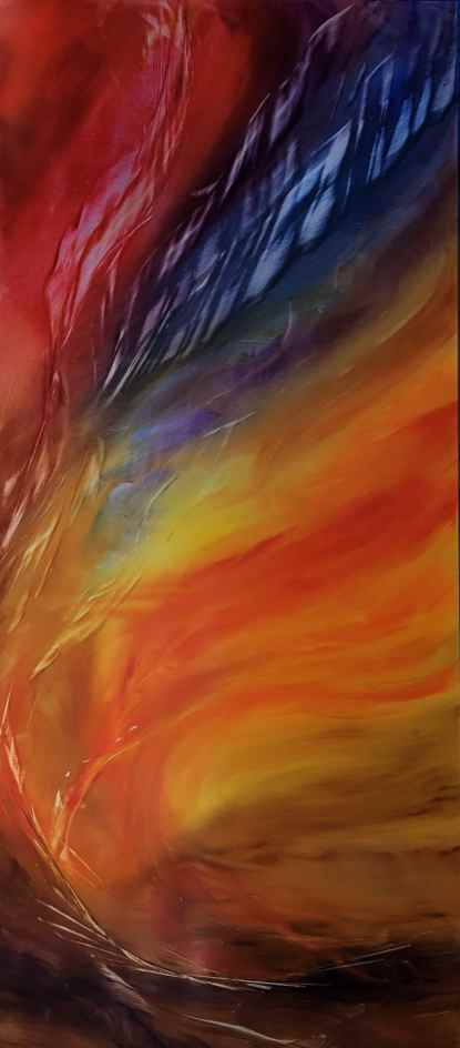 Fire filled sky with a swirling inferno of yellow, orange, red and blue.