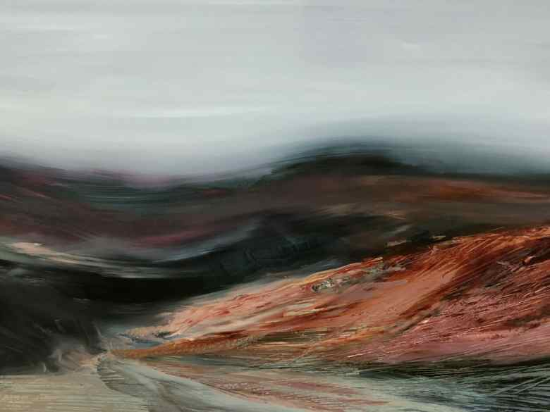 Abstract landscape painting with charred earth tones and a sweeping, blurred terrain.