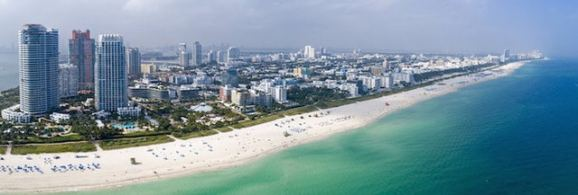 Beautiful arial shot of Miami Beach, Florida