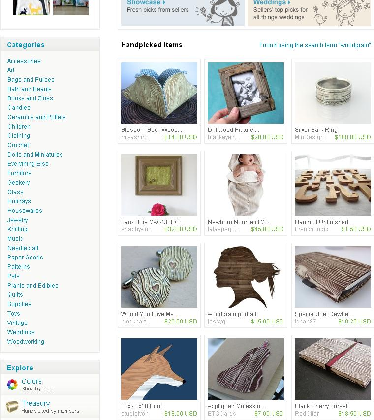"etsy front page featuring my ""bark ring"""