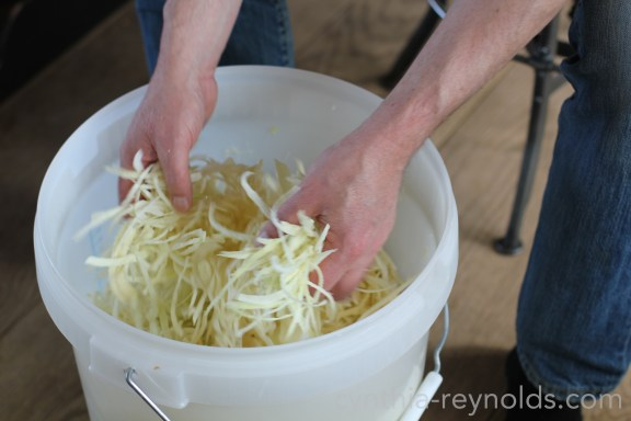 use a container large enough to manage the loose cabbage, 7 liters of packed cabbage was perfect in a 30L bucket