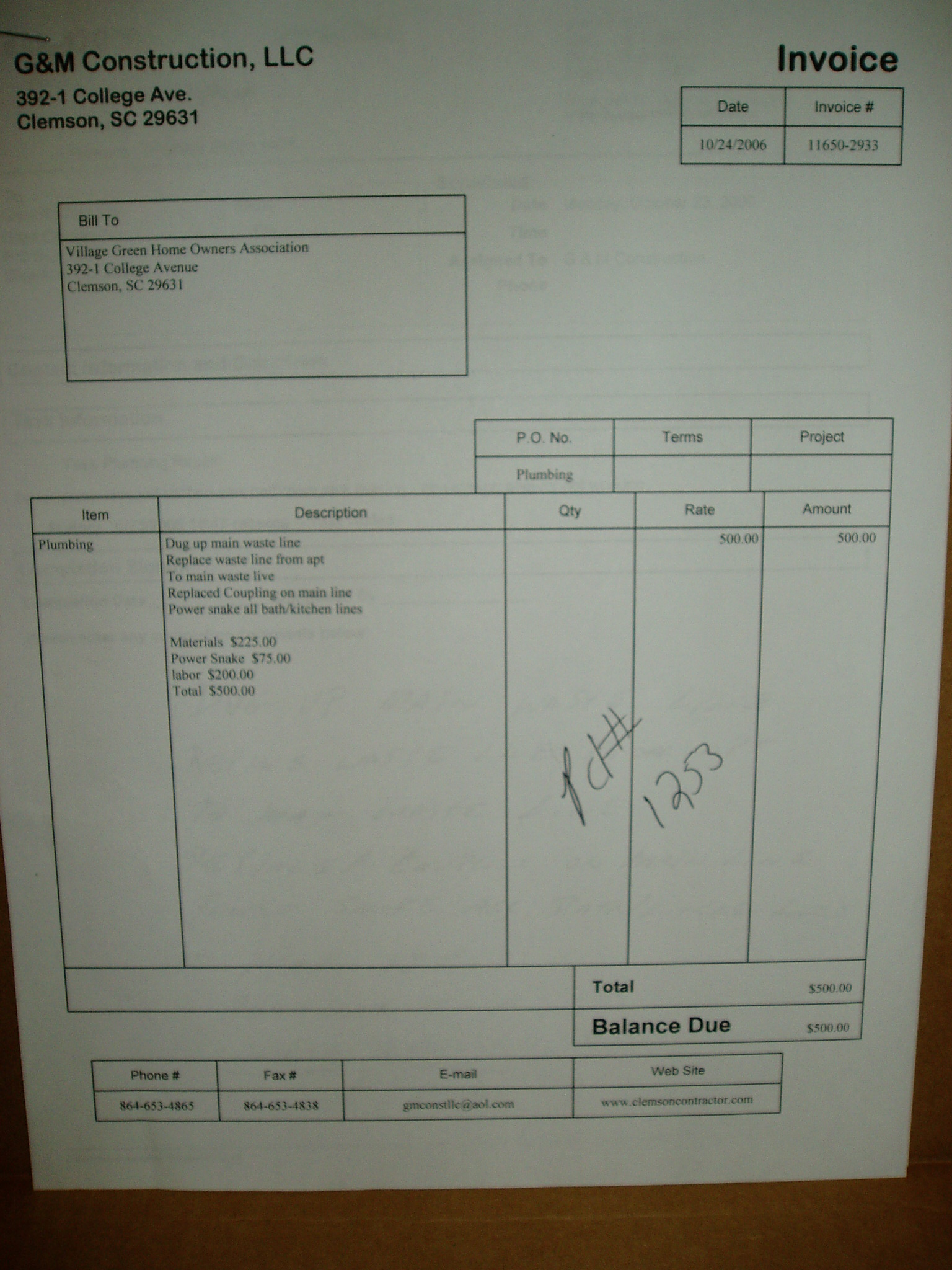 Date 10 24 06 Unit Missing From Invoice Cost 50000
