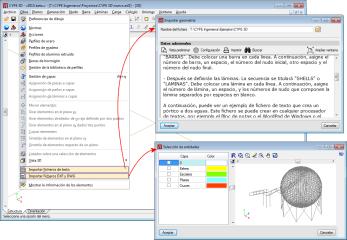 CYPE 3D. Láminas. Importar ficheros de texto, DXF y DWG