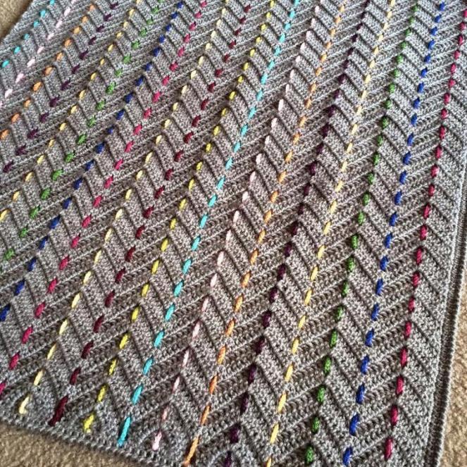 Crochet Blanket Pattern Threaded Colors Chevron Cypresstextiles