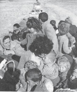 Women and children being evacuated from the Turkish village of Ayios Sozomenos
