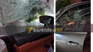 (Φωτογραφική ανακοίνωση) Επίθεση στον γιο του Π. Παπαελλήνα  Ζημιά αυτοκινήτου