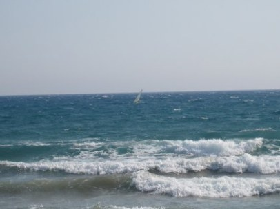 Waves and a windsurfer