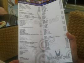 The Angel Pub menu list