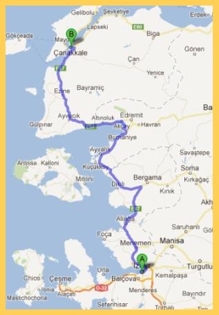 Map of Izmir to Canakkale