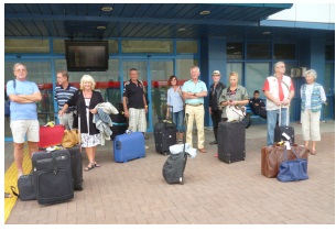 North Cyprus TFR members waiting for the mini-bus at Trabzon Airport