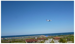 Take-off from Trabzon Airport - alongside the sea