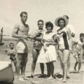 5b Paul Newman on Famagusta beach (whilst filming Exodus) with my friend Avril Fielding