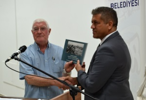 Richard presents a signed copy of his book to the Mayor of Famagusta