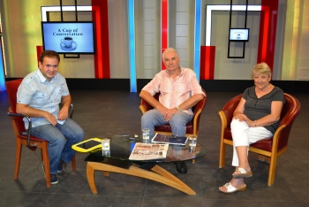 Can Gazi with Chris Elliot and Margaret Sheard Picture courtesy of Bayrak Radio and Television