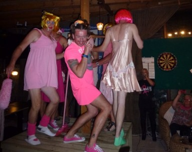 Corner House, pink jocks in frocks