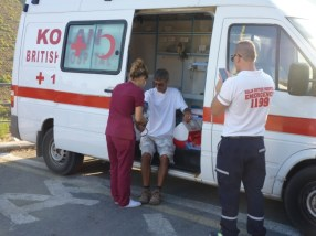 Kolan British Ambulance checks out feet and blood pressures