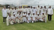 TRNC Cricket team and Limasol's Moufflons C.C. with umpires Nigel Holman and George Ward
