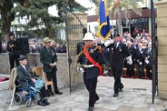Remembrance Day 2011 - Marine Bugler leads Standard Bearer, Kim Tyler as they enter the cemetery