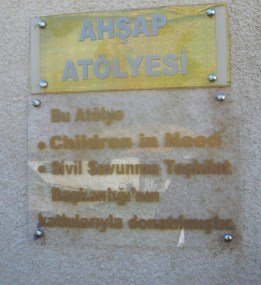 A plaque outside the woodworking workshop