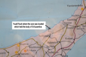 Location where the body of St Auxentios was said to have been found