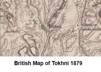 Tokhni on 1879 map