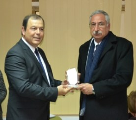 TRNC MInister of Health Dr. Ahmet Gülle congratulates Girne, Mayor Nidai Güngördü
