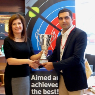 Danis Afridi receives the Credit West Trophy