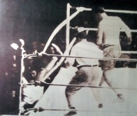 Luis Angel Firpo knocks Dempsey outside the ring. 1923
