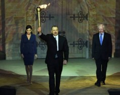 Presenting the flame at the !st Eruropean Games in Baku