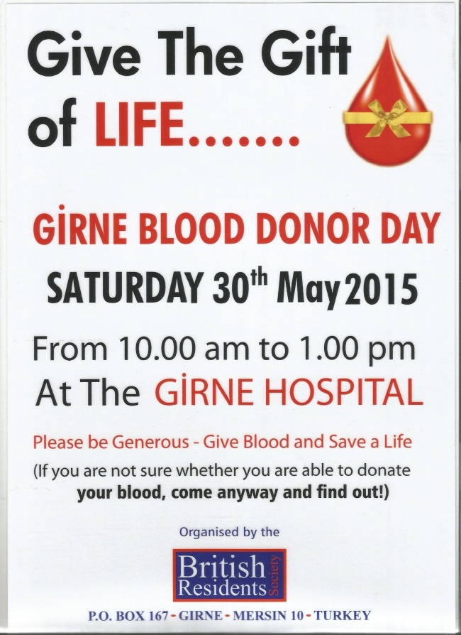 Blood Dono0r Day - poster 30th May 2015