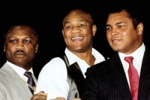 Frazier, Foreman and Ali pose together after their retirement